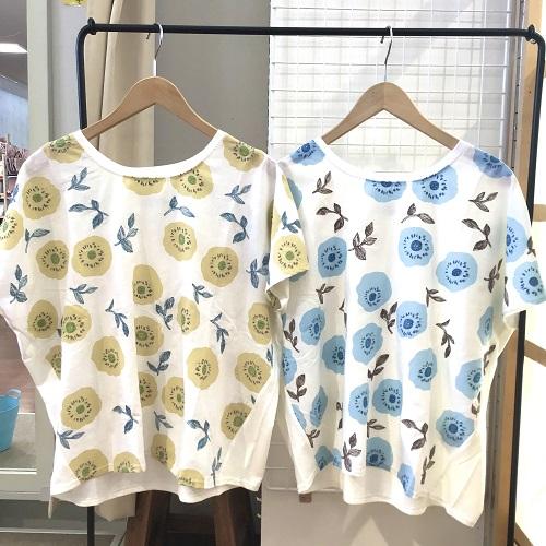 フレンチスリーブ柄Tシャツ
